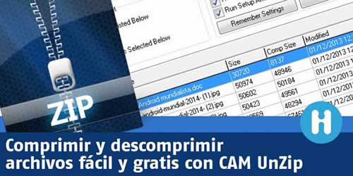 Comprimir y descomprimir archivos con CAM UnZIP